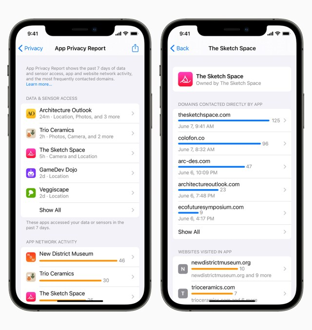 app privacy report