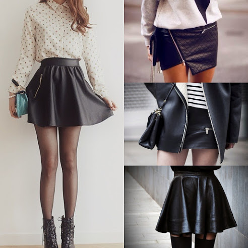 leather and faux leather skirts