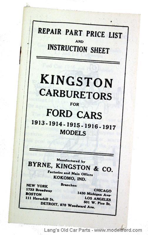 Model T Kingston Carburetors for Ford Cars booklet, KG1