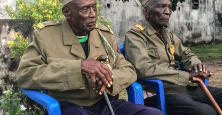 Daniel Miuki (R) and Albert Kunyuku Ngoma (L) are the last survivors of the Public Force, the Belgian colonial army. By Manu Kalombo (AFP)