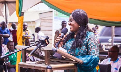 MP Mrs. Oteng-Gyasi addressing the gathering