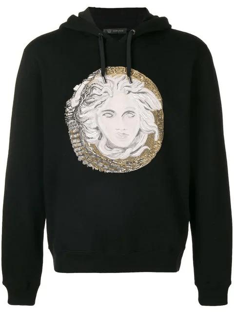 Versace Medusa刺繡連帽衛衣 In Black | ModeSens