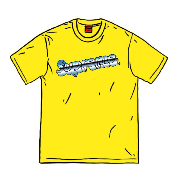 Pre-Owned Supreme Chrome Logo Tee Yellow   ModeSens