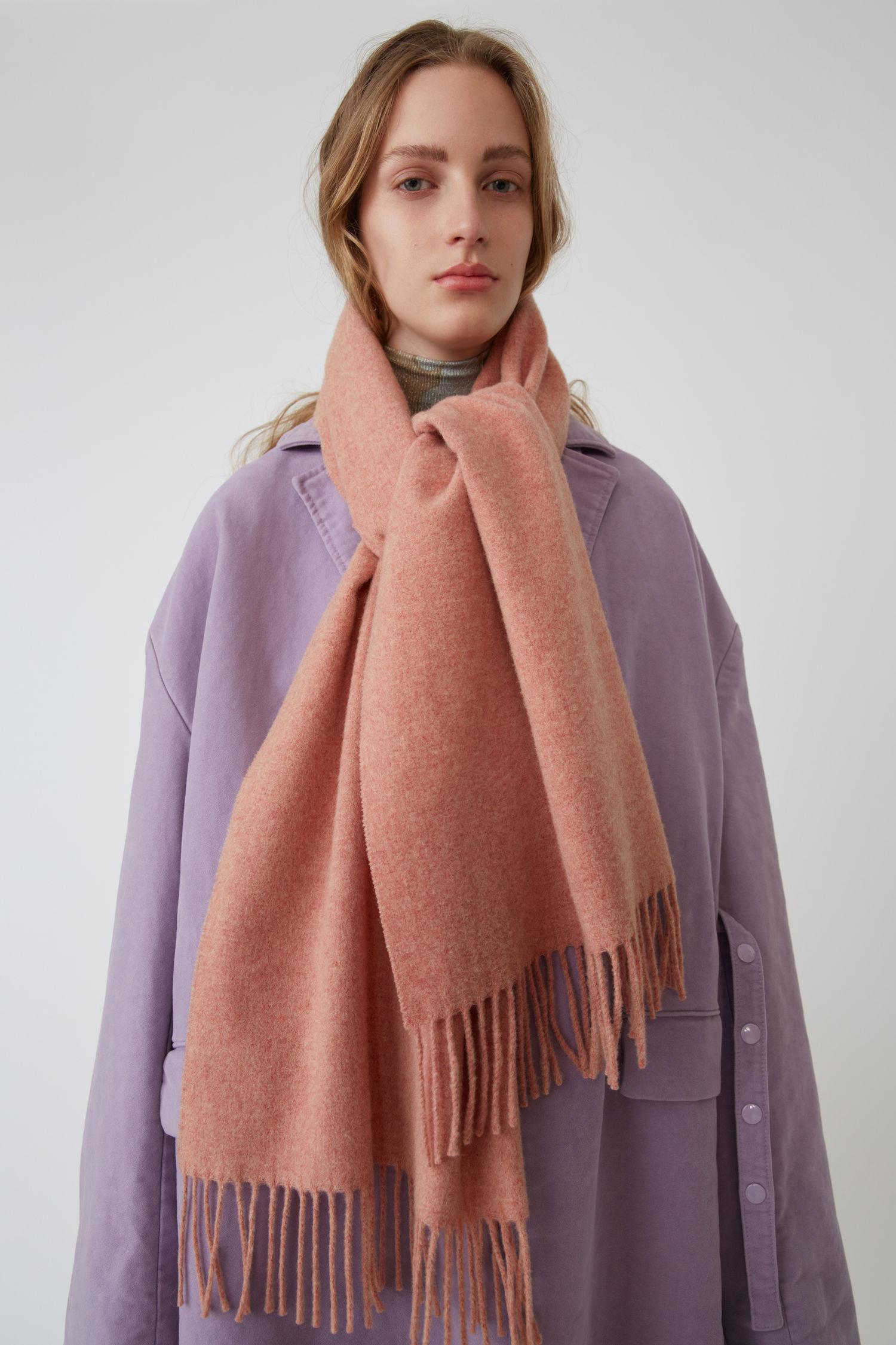 Acne Studios Canada Nr New Rose Melange In Narrow Wool Scarf | ModeSens