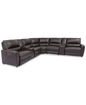 danvors 7 pc leather sectional sofa with 4 power recliners power headrests and 2 consoles in toronto brown