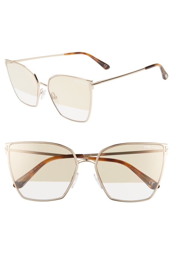 Tom Ford Helena 59mm Cat Eye Sunglasses - Rose Gold