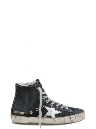 Golden Goose Deluxe Brand High-Top Denim Sneakers In Dark Blue | ModeSens