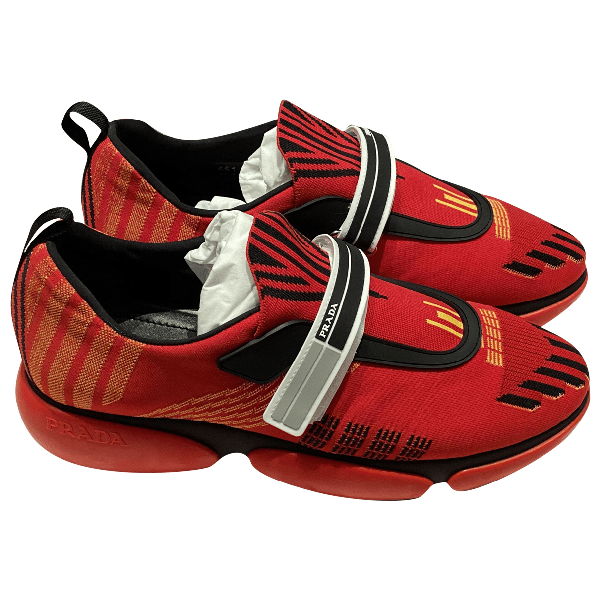 Pre-owned Prada Cloudbust Red Cloth Trainers   ModeSens