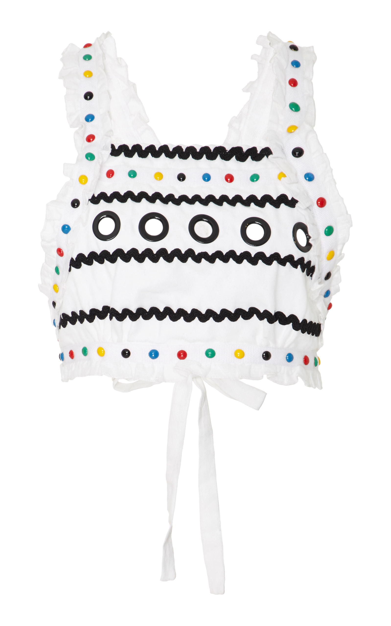 Dodo Bar Or Cropped Embellished Cotton-gauze Top In White