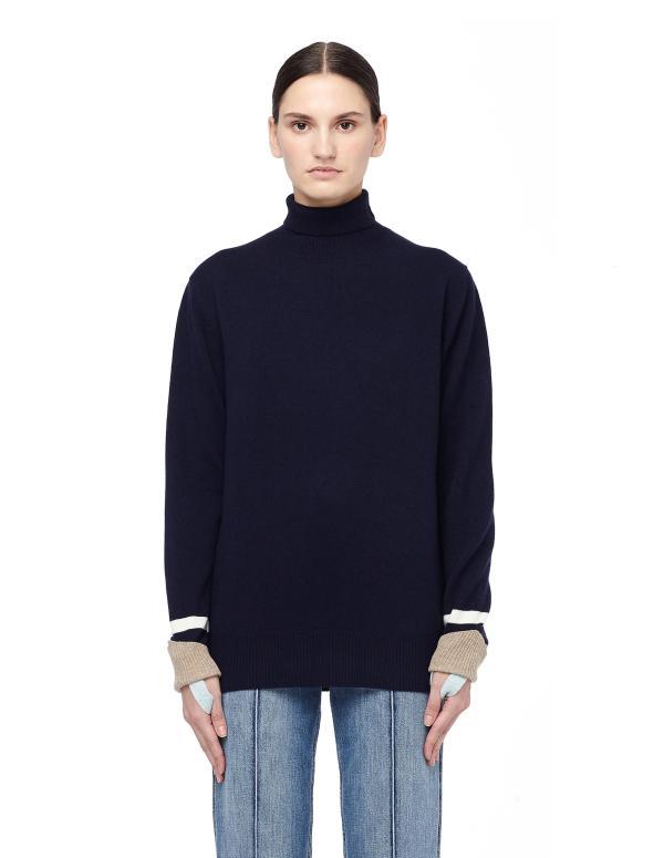 Undercover Navy Wool Turtleneck Sweater In Blue