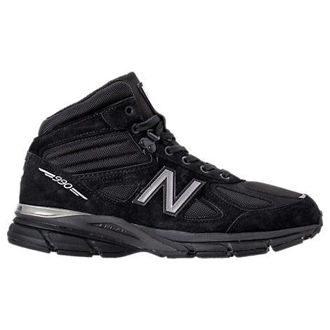 New Balance 990V4 Suede And Mesh High-Top Sneakers In Black | ModeSens