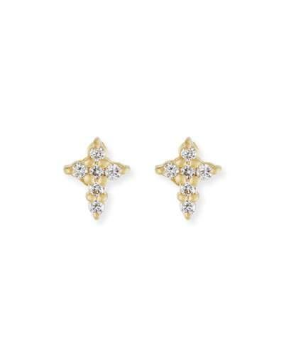 Roberto Coin Mini Diamond Cross Stud Earrings In Gold