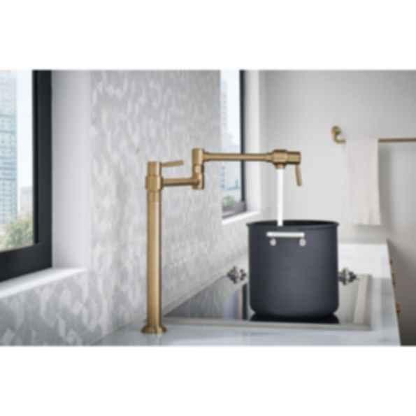 moen kitchen faucet cabinet materials euro deck mount pot filler 62720lf - modlar.com
