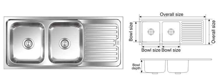 nirali graceful elegance anti scratch finish kitchen sink size 1550x510 mm