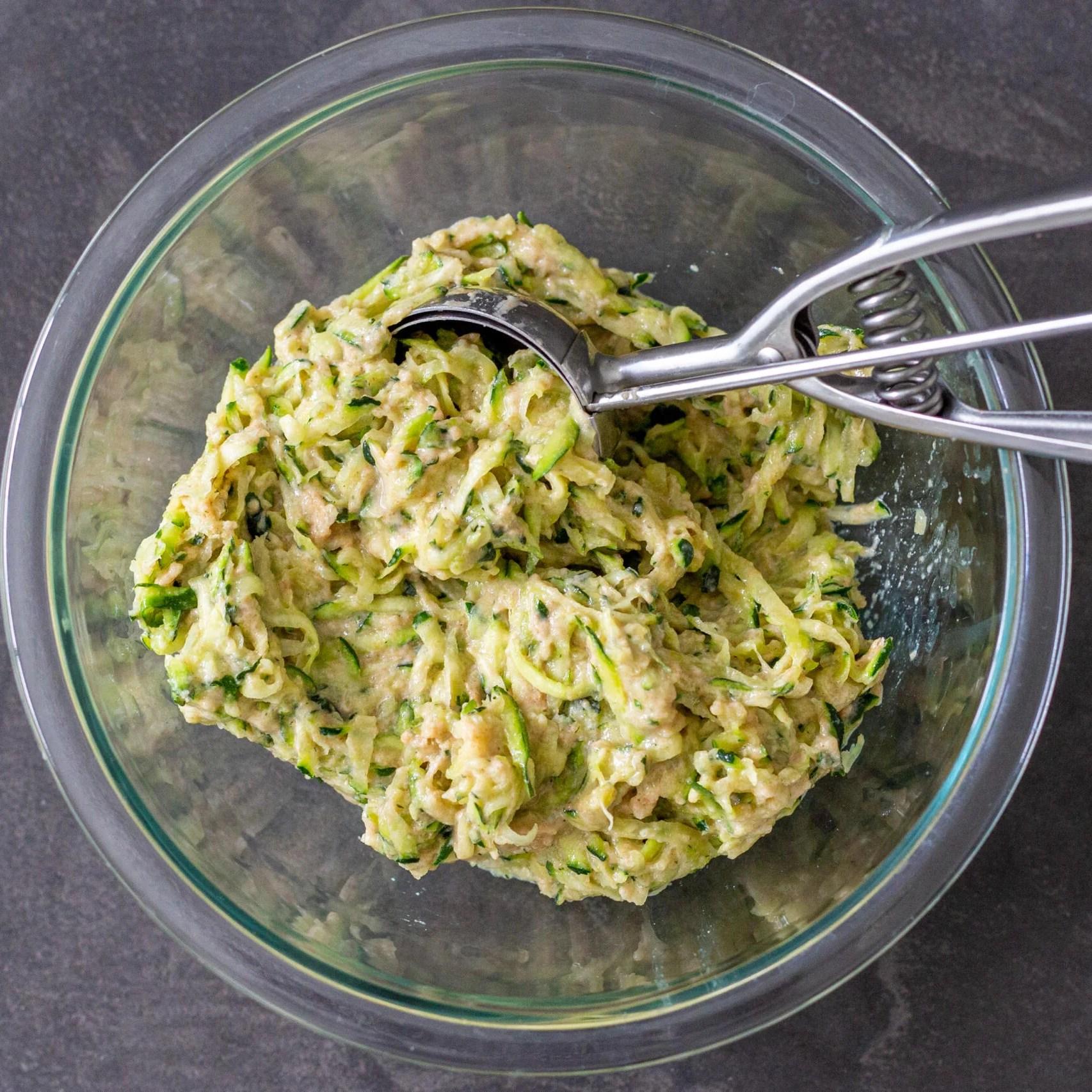 zucchini fritters dough in a bowl