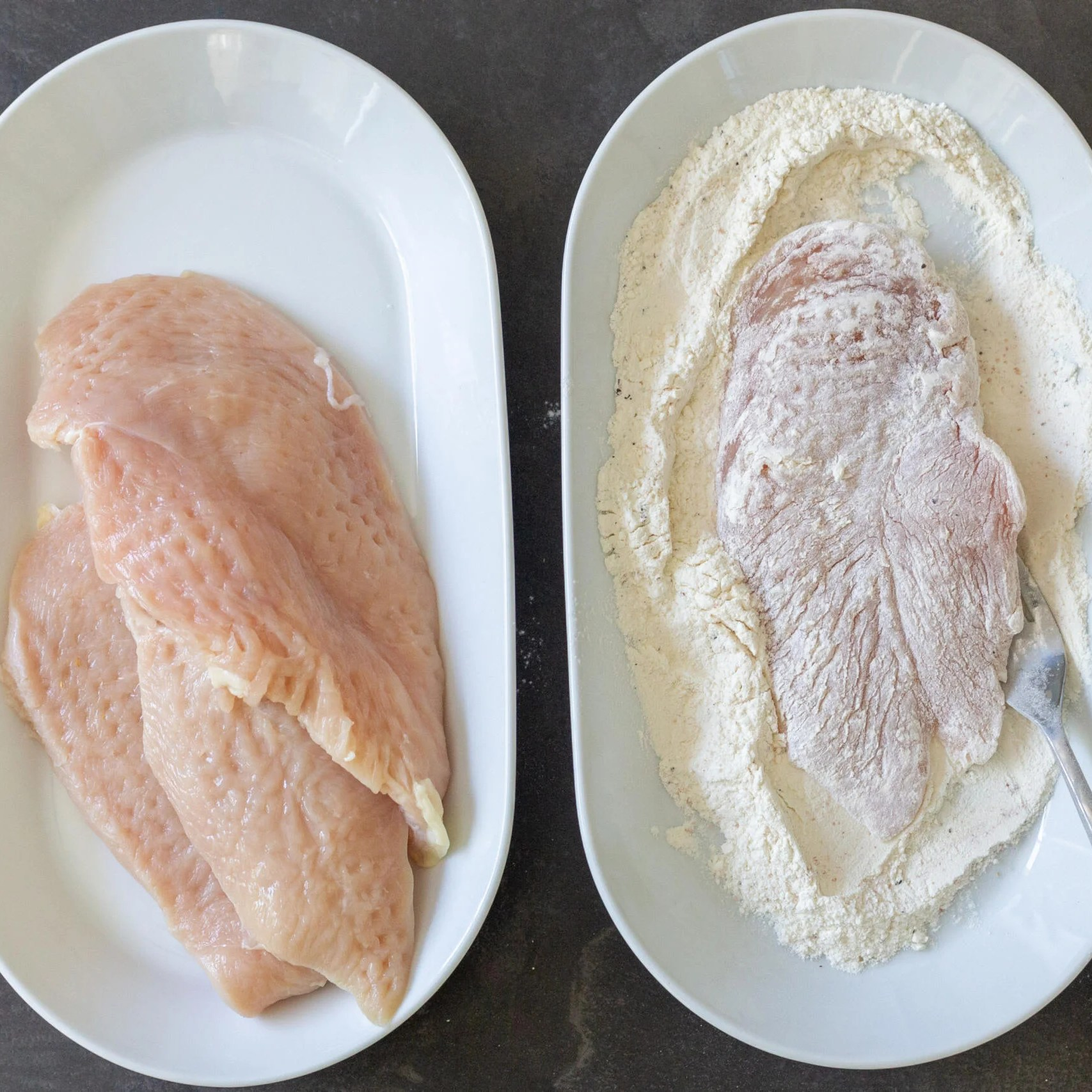 marinated chicken and seasoned flour for coating