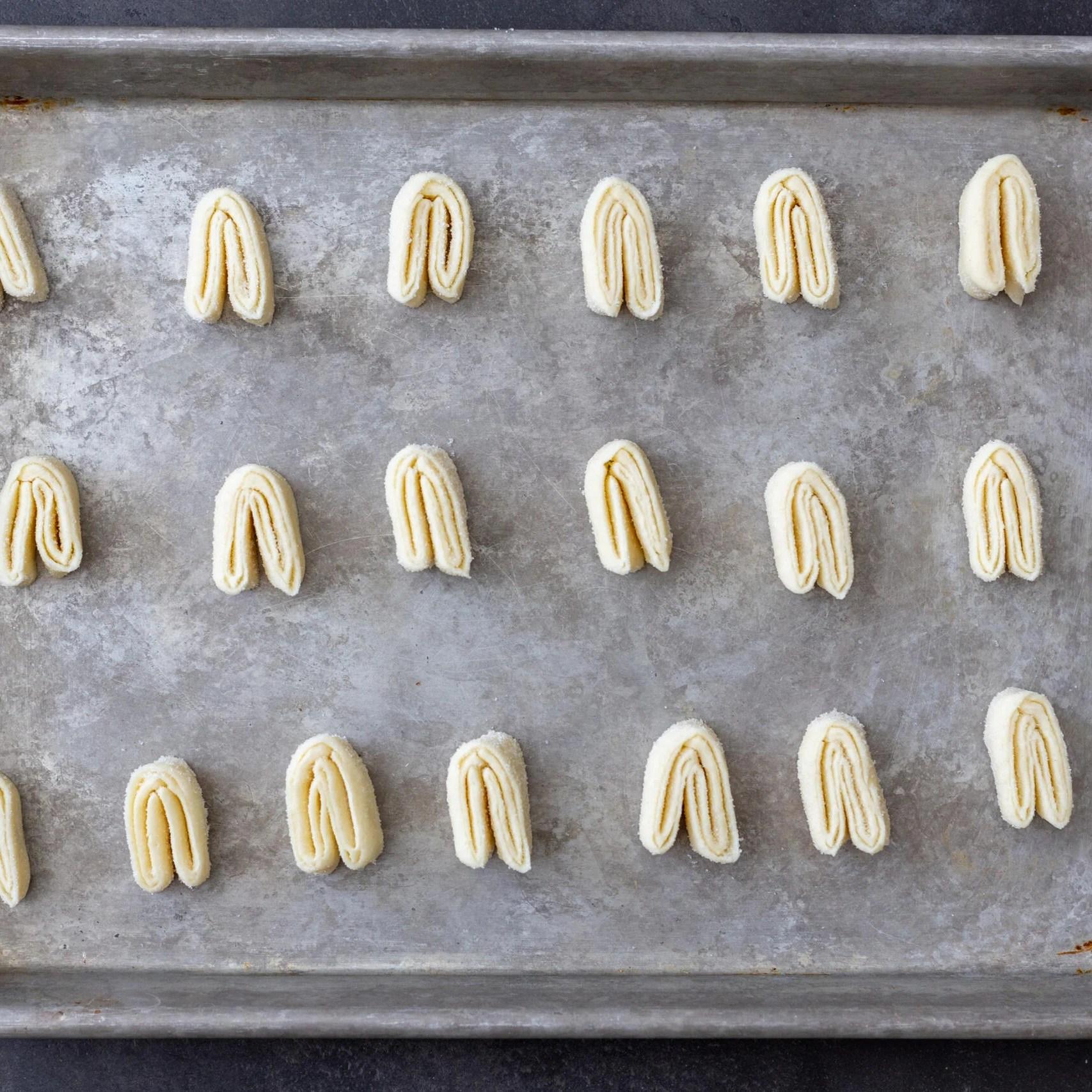 Palmier cookie dough on a baking sheet