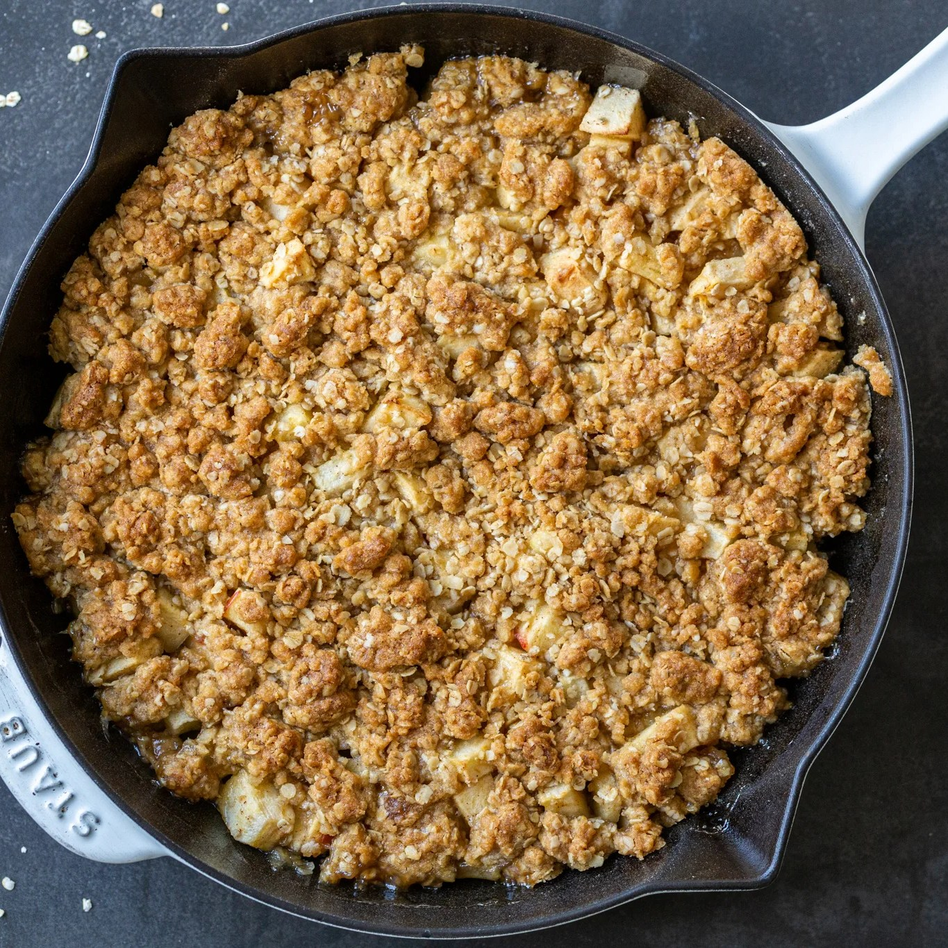 baked apple crisp in a pan