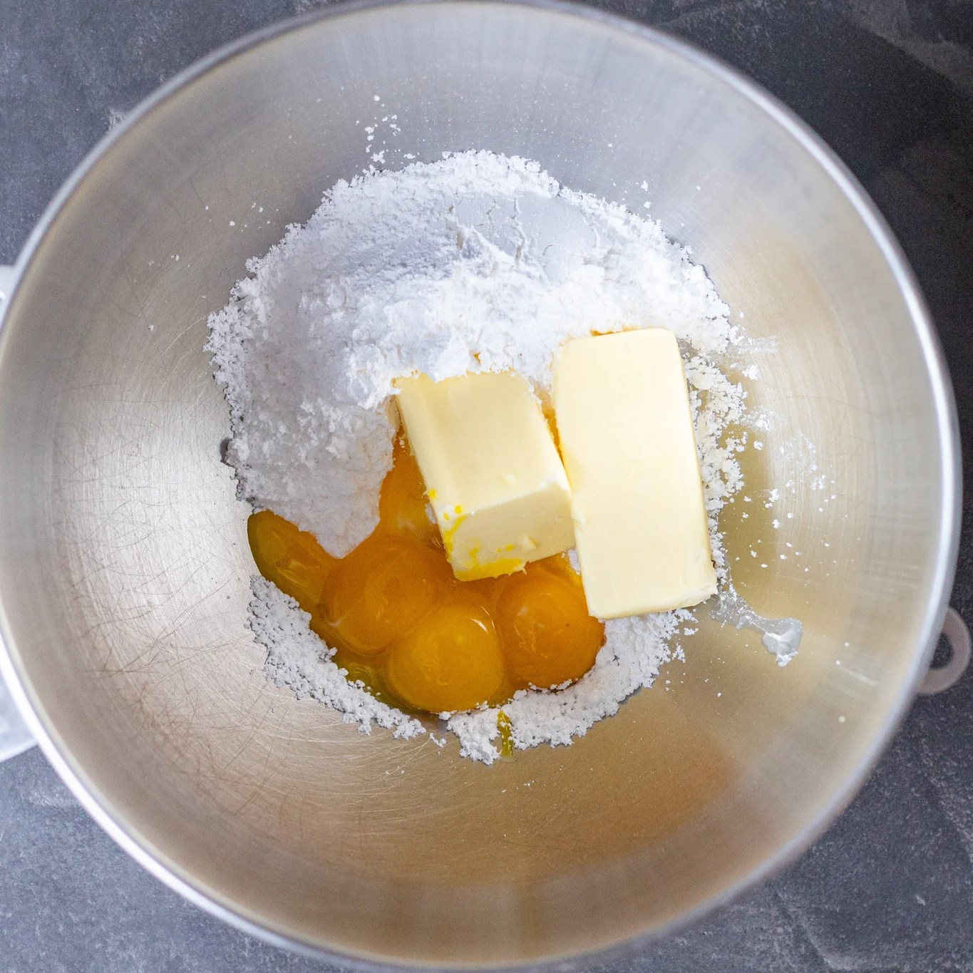 butter, sugar and egg yolks in a bowl