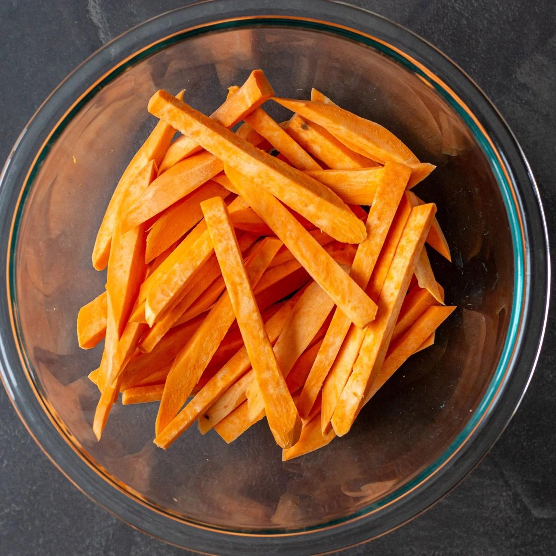 cut sweet potato fries in a bowl