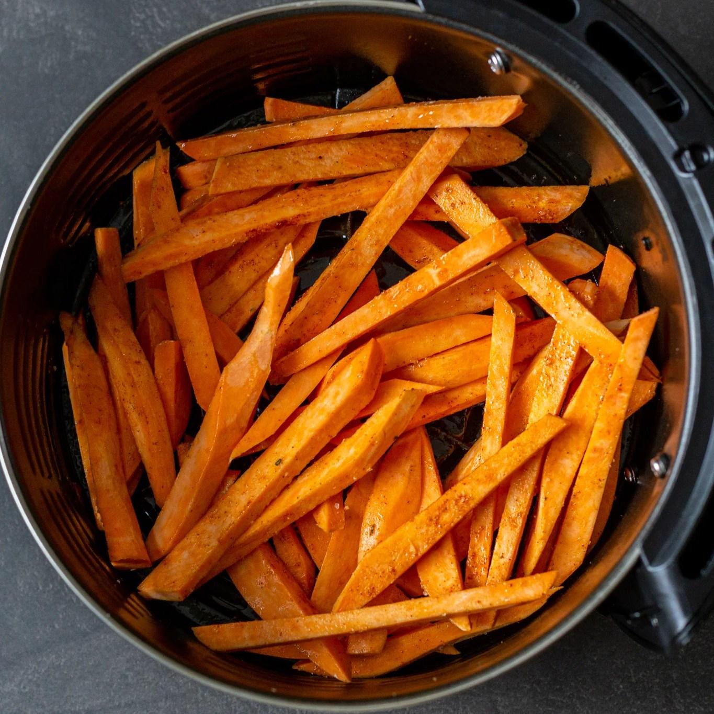 sweet potato fries in an air fryer