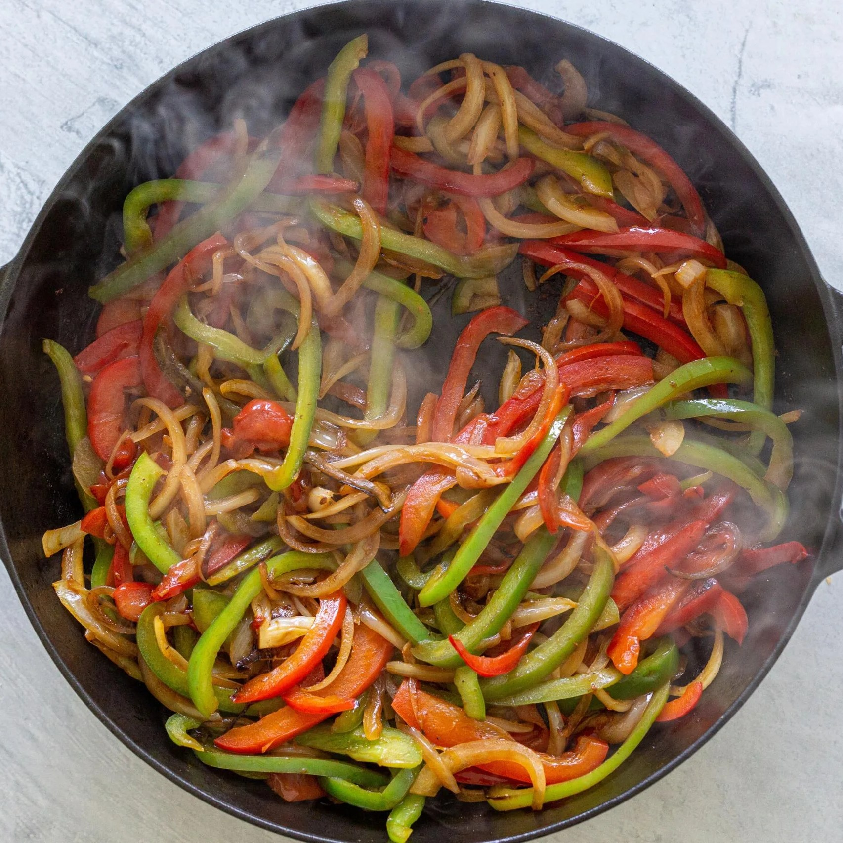 cooked veggies in a skillet