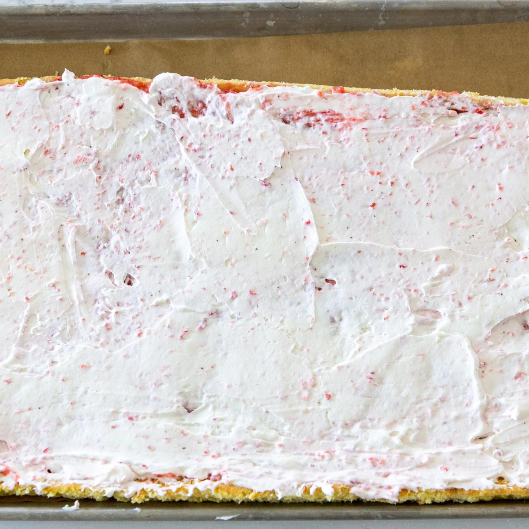 cake with blended strawberries and cream