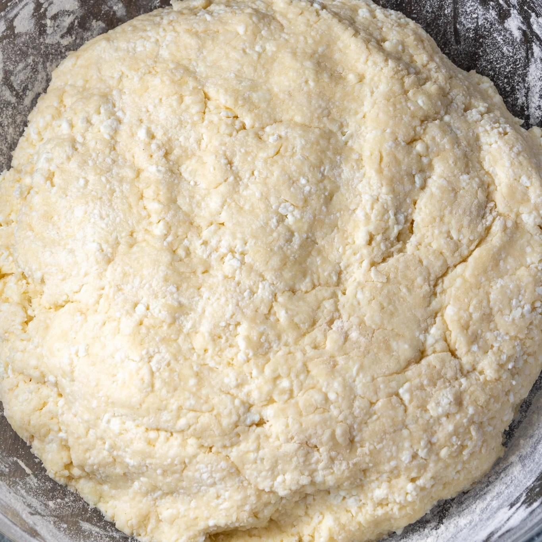 Farmers cheese donut holes dough in a bowl