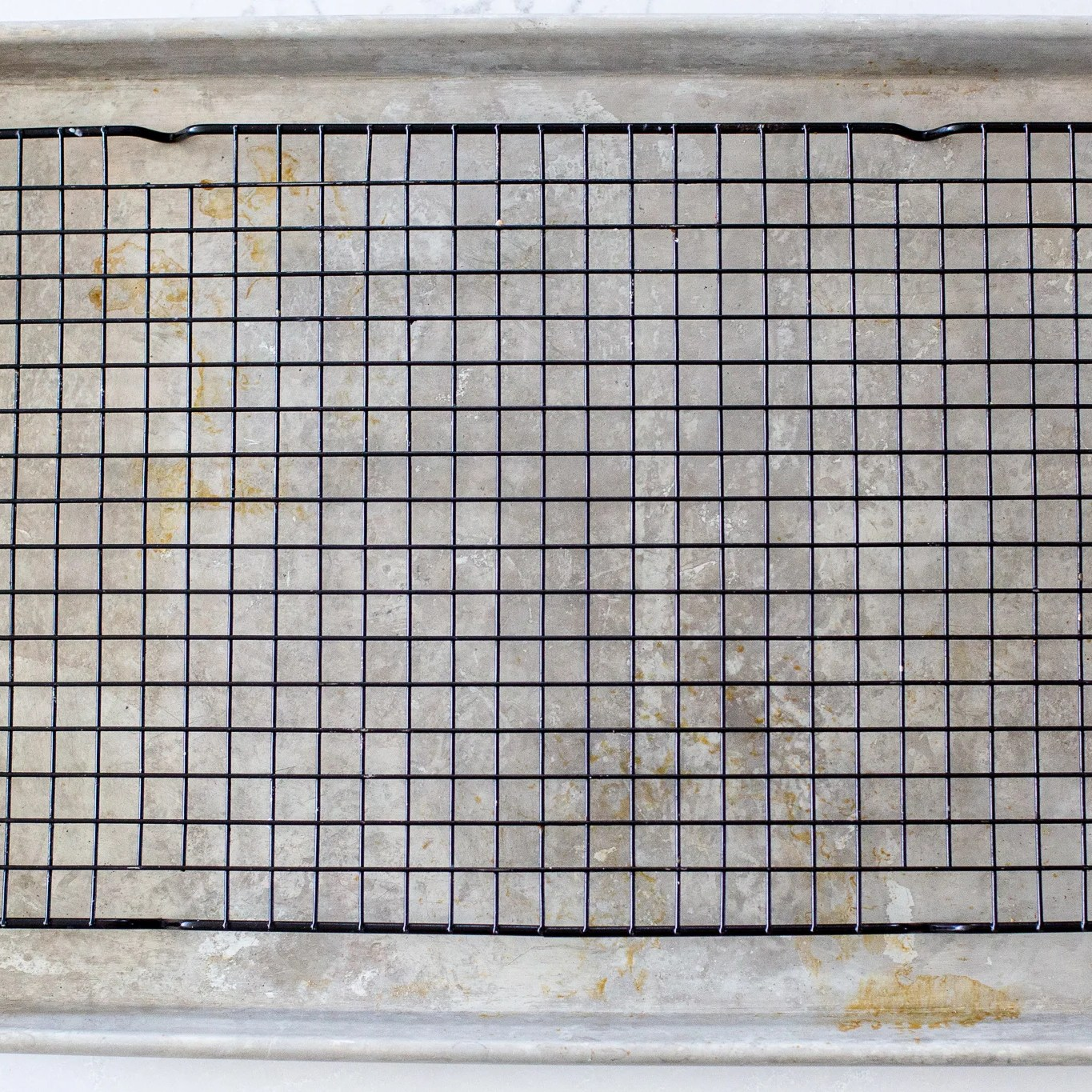 wire rack on a baking sheet
