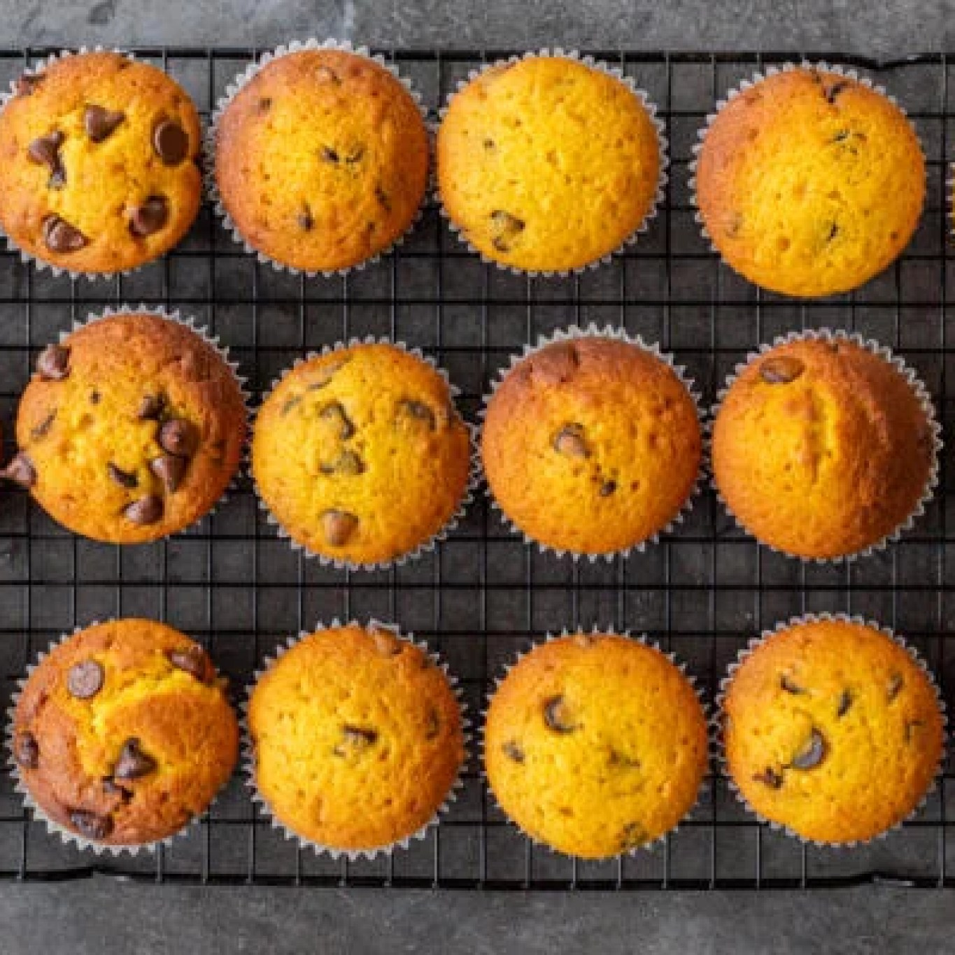baked muffins on a cooling rack