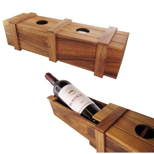 Magische Weinverpackung aus Holz  Geschenkbox zum Knobeln