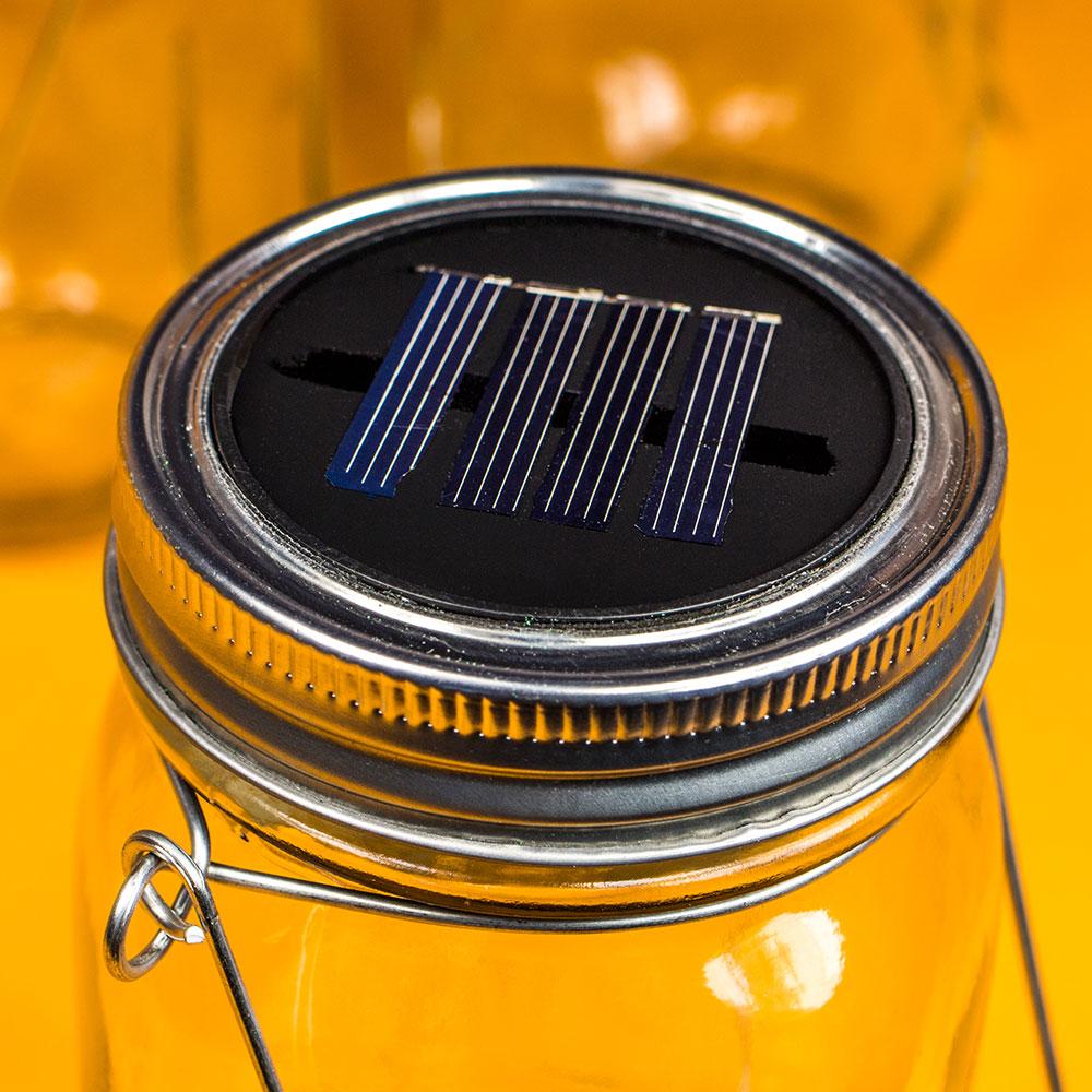 LED Solarlampe im Glas mit Spritzwasserschutz