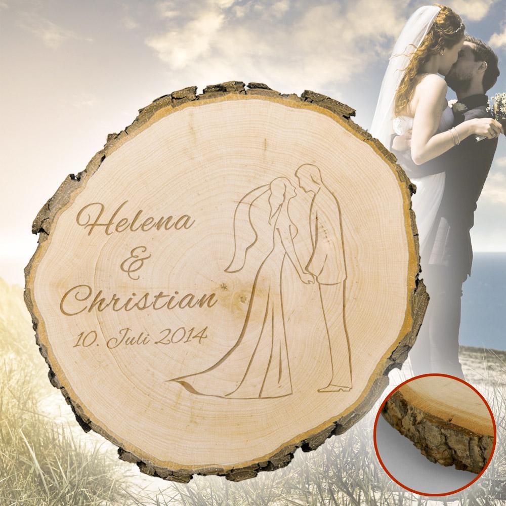 Baumscheibe zur Hochzeit  Silhouette  graviert mit