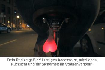 Bike Balls  lustige LED Fahrradbeleuchtung Rcklicht als Eier