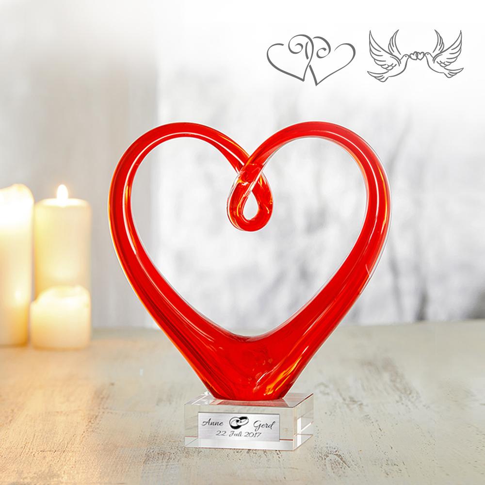 Herz aus Glas mit Gravur  Hochzeit mit Namen und Datum