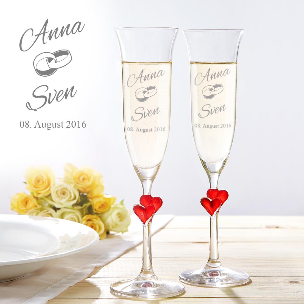 Herzen Sektglser zur Hochzeit  mit Wunschnamen graviert