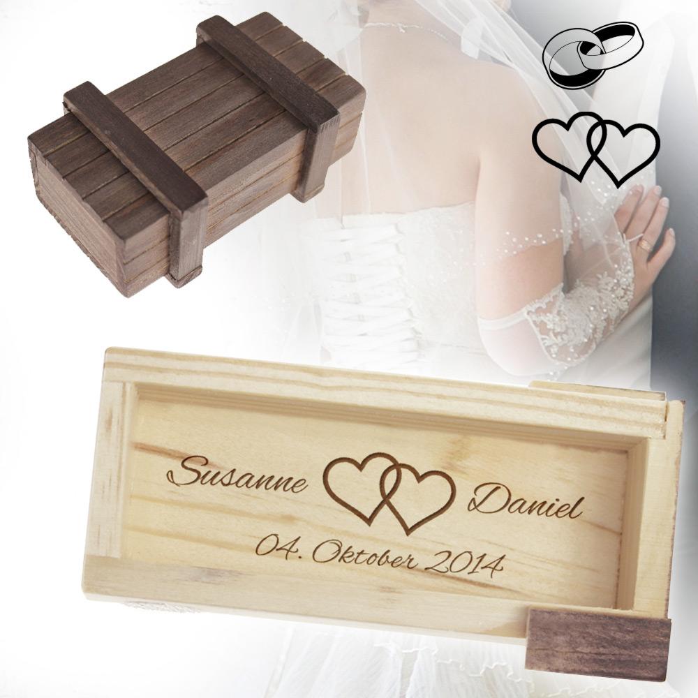 Magische IQ Box zur Hochzeit  mit Herzen oder Ringe Motiv