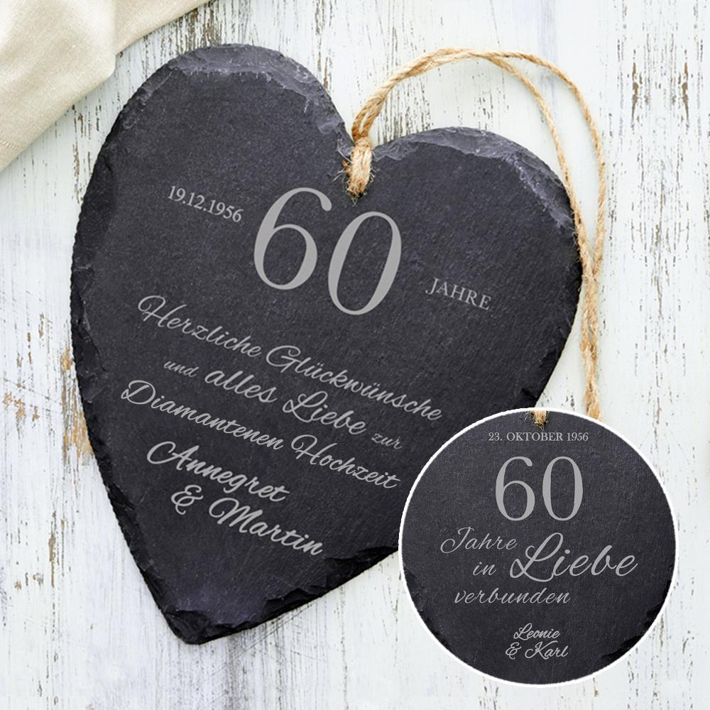 Schieferherz zur diamantenen Hochzeit  mit Wunschnamen