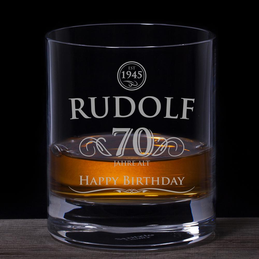 Whiskyglas 70 Geburtstag  elegant  mit persnlicher Gravur