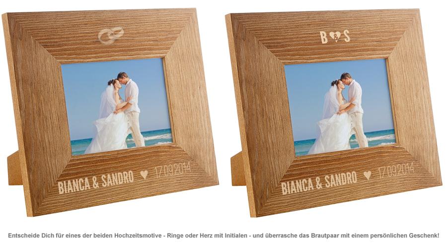 Personalisierter Bilderrahmen zur Hochzeit  mit Namen  Datum