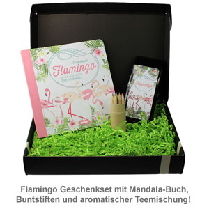 Flamingo Geschenkbox Mit Ausmalbuch Buntstiften Und Tee