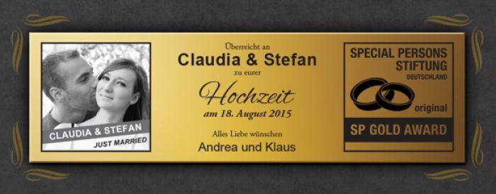 Goldene Schallplatte  Hochzeitsbild mit personalisierter