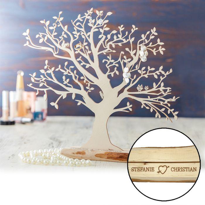 Personalisierter Baum mit Sockel fr Paare gro aus Holz