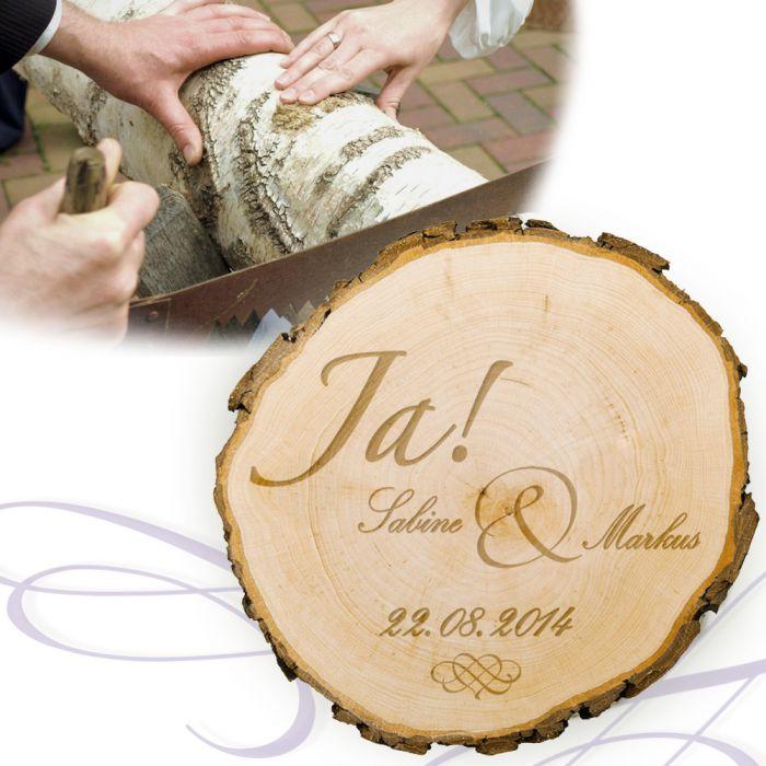 Baumscheibe zur Hochzeit  Jawort Gravur und Deine Wunschnamen