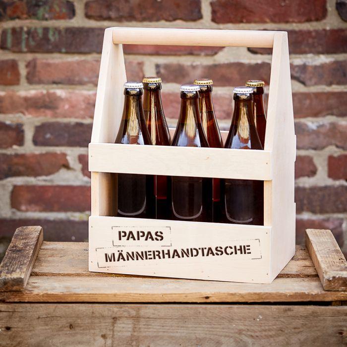 Bier Flaschentrger mit Gravur  Papas Mnnerhandtasche