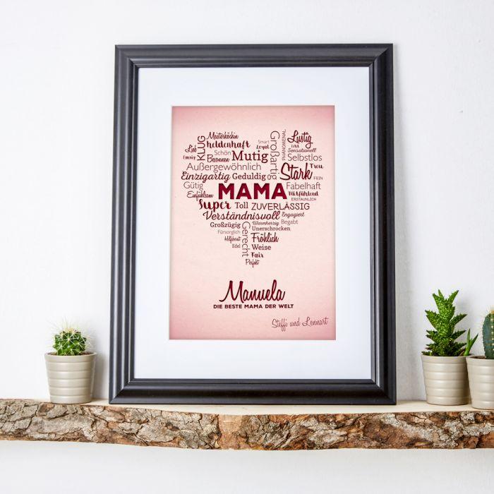 Liebevolles Herz aus Worten  personalisiertes Bild fr Mama