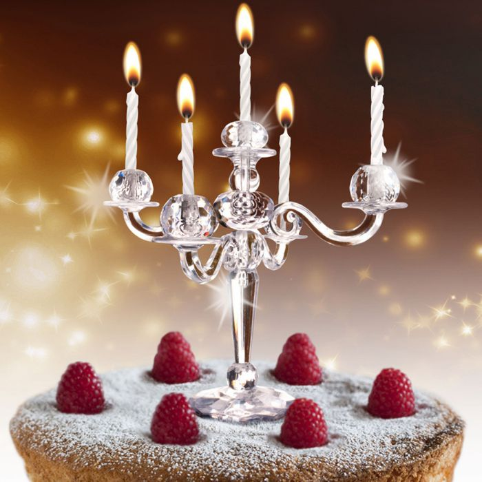 Kerzenstnder fr Kuchen und Torte  mit 9 weien Kerzen