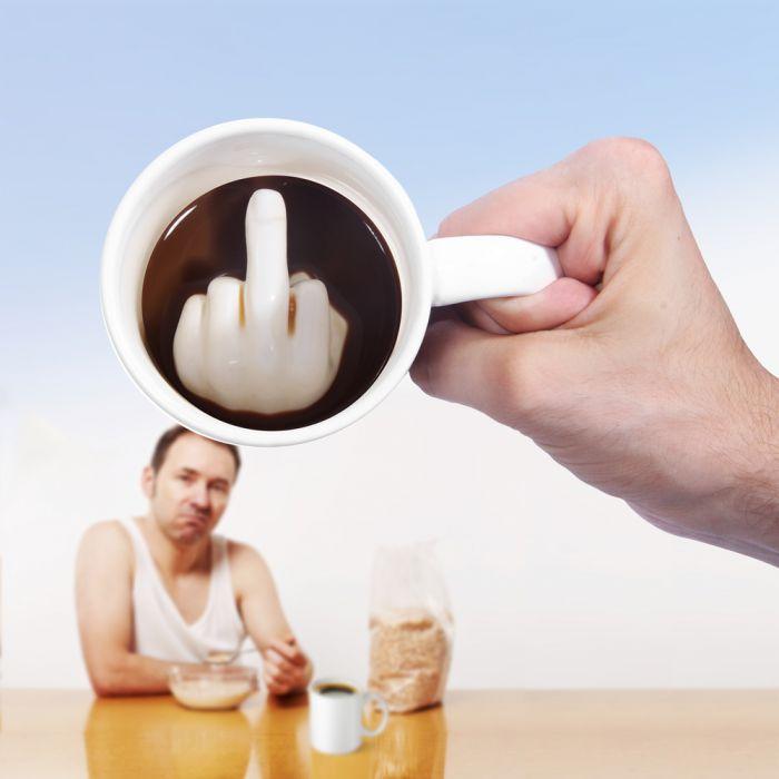 Mittelfinger Tasse  lustiger Kaffeebecher mit Pbelalarm