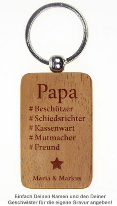 Schlsselanhnger graviert  Hashtag Papa  personalisiert