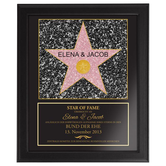Star of Fame  Hochzeitsbild gerahmt mit personalisierter